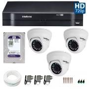 Kit 03 Câmeras de Segurança Dome HD 720p Intelbras VMD 1010 G4 + HD para Gravação 1TB + DVR Intelbras Multi HD + Acessórios