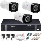 Kit 3 Câmeras + DVR Intelbras + App Grátis de Monitoramento, Câmeras HD 720p 20m Infravermelho de Visão Noturna + Fonte, Cabos e Acessórios
