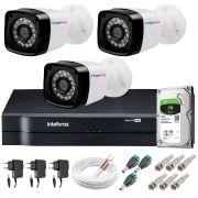 Kit 3 Câmeras + DVR Intelbras + HD 1 TB + App de Monitoramento, Câmeras HD 720p 20m Infravermelho de Visão Noturna + Fonte, Cabos e Acessórios