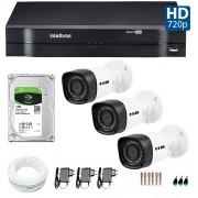 Kit 03 Câmeras de Segurança HD 720p HB Tech + DVR Intelbras Multi HD +  HD para Gravação 1TB + Acessórios