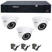 Kit 03 Câmeras de Segurança IP 1Mp HD 720p Intelbras VIP 1120 D + NVD 1108 Intelbras, NVR, HVR