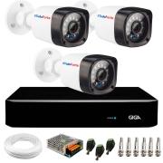 Kit 03 Câmeras Full HD 1080p + DVR Giga Security + App Grátis de Monitoramento, Câmeras 20m Infravermelho de Visão Noturna + Fonte, Cabos e Acessórios