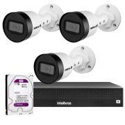 Kit 03 Câmeras IP Full HD Intelbras VIP 3220 B + NVD 1304 + HD WD Purple 1TB