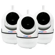 Kit 03 Câmera IP Sem Fio Wifi HD 1,3MP Com Áudio, Visão Noturna, Grava em Cartão SD