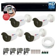 Kit 04 Câmeras de Segurança Bullet HD 720p Focusbras + DVR Luxvision All HD + Acessórios