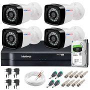 Kit 4 Câmeras + DVR Intelbras + HD 1 TB + App de Monitoramento, Câmeras HD 720p 20m Infravermelho de Visão Noturna + Fonte, Cabos e Acessórios