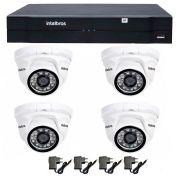 Kit 04 Câmeras de Segurança IP 1Mp HD 720p Intelbras VIP 1120 D + NVD 1108 Intelbras, NVR, HVR