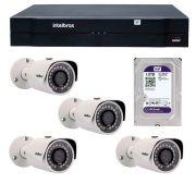 Kit 04 Câmeras de Segurança IP 1Mp HD 720p Intelbras VIP S 3020 G2 + NVD 1108 Intelbras, NVR, HVR + HD WD Purple 1TB