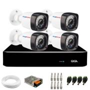 Kit 04 Câmeras Full HD 1080p + DVR Giga Security + App Grátis de Monitoramento, Câmeras 20m Infravermelho de Visão Noturna + Fonte, Cabos e Acessórios