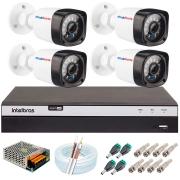 Kit 04 Câmeras Full HD 1080p 20m Infravermelho de Visão Noturna + DVR Intelbras + App Grátis de Monitoramento + Fonte, Cabos e Acessórios
