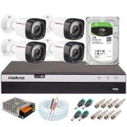 Kit 04 Câmeras Full HD 1080p 20m Infravermelho de Visão Noturna + DVR Intelbras + HD 1 TB + App Grátis de Monitoramento + Fonte, Cabos e Acessórios