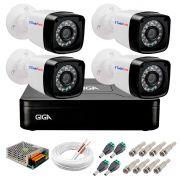 Kit 04 Câmeras HD 720p + DVR Giga Security + App Grátis de Monitoramento, Câmeras 20m Infravermelho de Visão Noturna + Fonte, Cabos e Acessórios