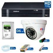 Kit 06 Câmeras de Segurança Dome HD 720p Focusbras + DVR Intelbras Multi HD + HD para Gravação 1TB + Acessórios
