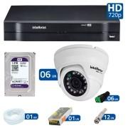Kit 06 Câmeras de Segurança Dome HD 720p Intelbras VMD 1010 G4 + HD para Gravação 1TB + DVR Intelbras Multi HD + Acessórios