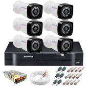 Kit 6 Câmeras + DVR Intelbras + App Grátis de Monitoramento, Câmeras HD 720p 20m Infravermelho de Visão Noturna + Fonte, Cabos e Acessórios