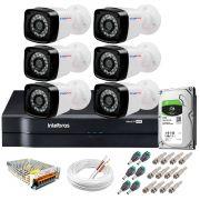 Kit 6 Câmeras + DVR Intelbras + HD 1 TB + App de Monitoramento, Câmeras HD 720p 20m Infravermelho de Visão Noturna + Fonte, Cabos e Acessórios