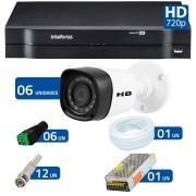 Kit 06 Câmeras de Segurança HD 720p HB Tech + DVR Intelbras Multi HD + Acessórios