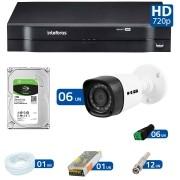 Kit 06 Câmeras de Segurança HD 720p HB Tech + DVR Intelbras Multi HD +  HD para Gravação 1TB + Acessórios