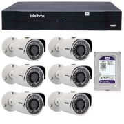 Kit 06 Câmeras de Segurança IP 1Mp HD 720p Intelbras VIP S 3020 G2 + NVD 1108 Intelbras, NVR, HVR + HD WD Purple 1TB