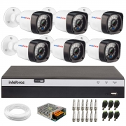 Kit 06 Câmeras Full HD 1080p 20m Infravermelho de Visão Noturna +  DVR Intelbras Full HD MHDX 3108 + Acessórios