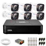 Kit 06 Câmeras Full Hd 1080p + Dvr Giga Security + App Grátis de Monitoramento, Câmeras 20m Infravermelho de Visão Noturna + Hd + Fonte, Cabos e Acessórios