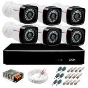 Kit 06 Câmeras Full HD 1080p + DVR Giga Security + App Grátis de Monitoramento, Câmeras 20m Infravermelho de Visão Noturna + Fonte, Cabos e Acessórios