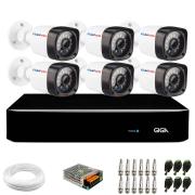 Kit 06 Câmeras Full HD 1080p Full HD 1080p + DVR Giga Security + Hd + App Grátis de Monitoramento, Câmeras 20m Infravermelho de Visão Noturna + Fonte, Cabos e Acessórios