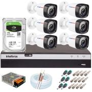Kit 06 Câmeras Full HD 1080p 20m Infravermelho de Visão Noturna + DVR Intelbras + HD 1 TB + App Grátis de Monitoramento + Fonte, Cabos e Acessórios