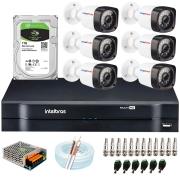 Kit 06 Câmeras HD 720p 20m Infravermelho de Visão Noturna + DVR Intelbras + HD 1 TB + App Grátis de Monitoramento + Fonte, Cabos e Acessórios