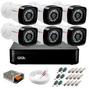 Kit 06 Câmeras HD 720p + DVR Giga Security + App Grátis de Monitoramento, Câmeras 20m Infravermelho de Visão Noturna + Fonte, Cabos e Acessórios