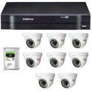 Kit 08 Câmeras de Segurança Dome HD 720p Focusbras + DVR Intelbras Multi HD + HD para Gravação 1TB + Acessórios