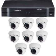 Kit 08 Câmeras de Segurança Dome HD 720p Intelbras VMD 1010 G4 + DVR Intelbras Multi HD + Acessórios