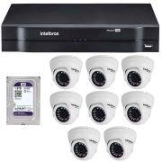 Kit 08 Câmeras de Segurança Dome HD 720p Intelbras VMD 1010 G4 + HD para Gravação 1TB + DVR Intelbras Multi HD + Acessórios