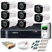 Kit 8 Câmeras + DVR Intelbras + HD 1 TB + App de Monitoramento, Câmeras HD 720p 20m Infravermelho de Visão Noturna + Fonte, Cabos e Acessórios