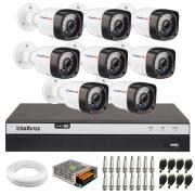 Kit 08 Câmeras Full HD 1080p 20m Infravermelho de Visão Noturna + DVR Intelbras Full HD MHDX 3108 + Acessórios