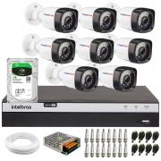 Kit 08 Câmeras Full HD 1080p 20m Infravermelho de Visão Noturna + DVR Intelbras Full HD MHDX 3108 + HD 1TB