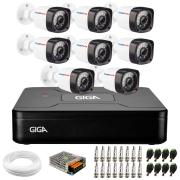 Kit 08 Câmeras Full Hd 1080p + Dvr Giga Security + App Grátis de Monitoramento, Câmeras 20m Infravermelho de Visão Noturna + Hd + Fonte, Cabos e Acessórios