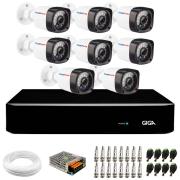 Kit 08 Câmeras Full HD 1080p Full HD 1080p + DVR Giga Security + Hd + App Grátis de Monitoramento, Câmeras 20m Infravermelho de Visão Noturna + Fonte, Cabos e Acessórios