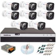 Kit 08 Câmeras Full HD 1080p 20m Infravermelho de Visão Noturna + DVR Intelbras + App Grátis de Monitoramento + Fonte, Cabos e Acessórios