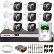 Kit 08 Câmeras Full HD 1080p 20m Infravermelho de Visão Noturna + DVR Intelbras + HD 1 TB + App Grátis de Monitoramento + Fonte, Cabos e Acessórios