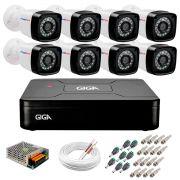 Kit 08 Câmeras HD 720p + DVR Giga Security + App Grátis de Monitoramento, Câmeras 20m Infravermelho de Visão Noturna + Fonte, Cabos e Acessórios