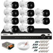 Kit 10 Câmeras 2K VHD 1420B + DVR Intelbras + App Grátis de Monitoramento, Câmeras 20m Infravermelho de Visão Noturna + Fonte, Cabos e Acessórios