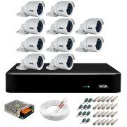 Kit 10 Câmeras  5MP + DVR Giga +  App de Monitoramento, Câmeras 30m Infravermelho de Visão Noturna Giga Security GS0047 Completo com Acessórios