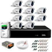 Kit 10 Câmeras 5MP + DVR Giga +  HD 1TB + App de  Monitoramento, Câmeras 30m Infravermelho de Visão Noturna Giga Security GS0047 Completo com Acessórios