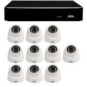 Kit 10 Câmeras de Segurança 1MP HD 720p Giga Security GS0012 + DVR Full HD 1080N 5 em 1 Giga Security + Acessórios