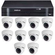 Kit 10 Câmeras de Segurança Dome HD 720p Intelbras VMD 1010 G4 + DVR Intelbras Multi HD + Acessórios