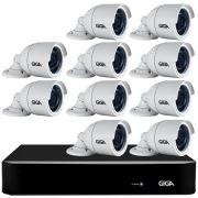 Kit 10 Câmeras Full HD + DVR Giga Security + App Grátis de Monitoramento, Câmeras GS0273 1080p 30m Infravermelho de Visão Noturna + Fonte, Cabos e Acessórios