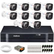 Kit 10 Câmeras de Segurança Full HD 1080p Lite 20 Metros Infravermelho + DVR Intelbras + HD + Cabos e Acessórios