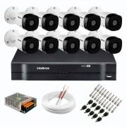 Kit 10 Câmeras de Segurança Full HD 1080p VHD 1220 B G6 + DVR Intelbras MHDX 1116 de 16 Canais 1080p Lite + Acessórios