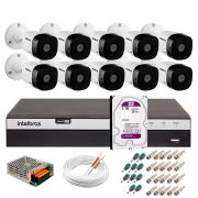 Kit 10 Câmeras de Segurança Full HD 1080p VHD 1220B IR + DVR Intelbras Full HD + HD WD Purple 2TB + Acessórios